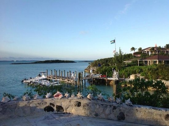 Fowl Cay Resort:                   View of Main Dock from Birdcage Villa