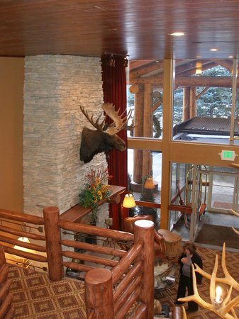 The Lodge at Jackson Hole: fireplace and entrance from inside lobby