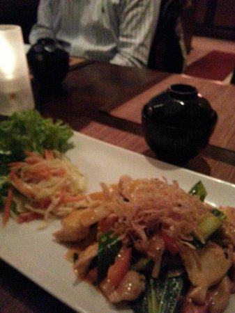 echtasien:                                                       scharfes Huhn mit frischem Gemüse