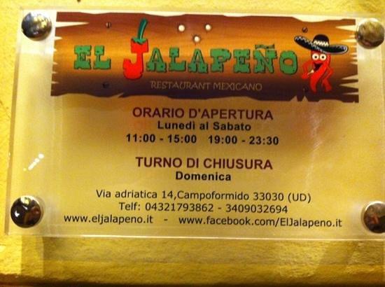 El Jalapeno:                   orario apertura