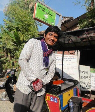 Tuk-tuk driver Somneang outside Bun Kao Guesthouse
