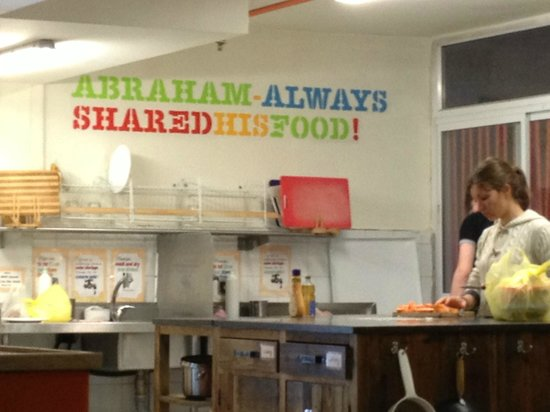 Abraham Hostel Jerusalem:                   in the common kitchen
