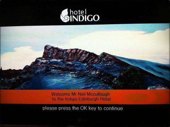 Hotel Indigo Edinburgh:                   The TV greets you...