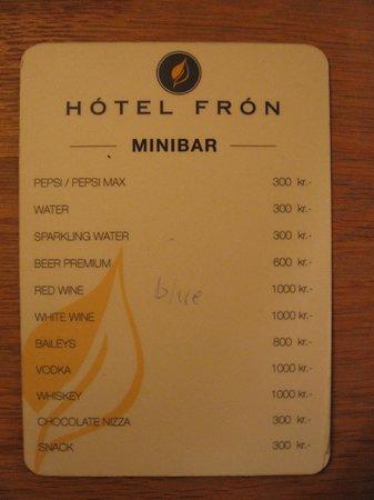 Hotel Fron:                   Minibar Pricelist