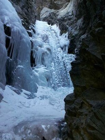 Zapata Falls:                   Frozen waterfall