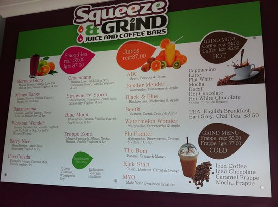 Squeeze and Grind Juice and Coffee bars:                   Menu