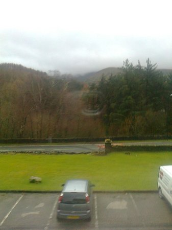 The Royal Victoria Hotel Snowdonia:                   looking towards Snowdon from our bedroom window