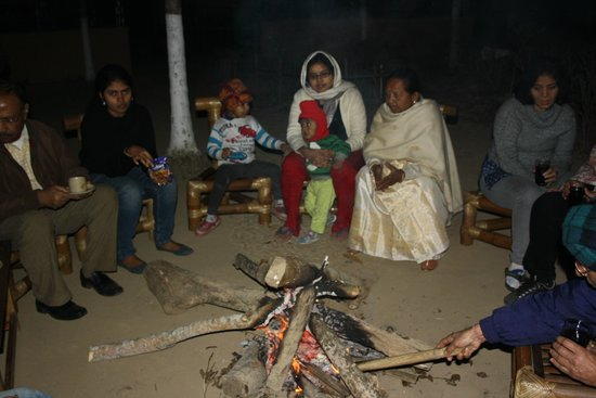 Nature Hunt Eco Camp, Kaziranga National Park:                   Campfire
