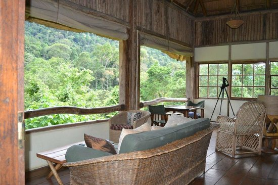 Bwindi Lodge:                   Lodge living area