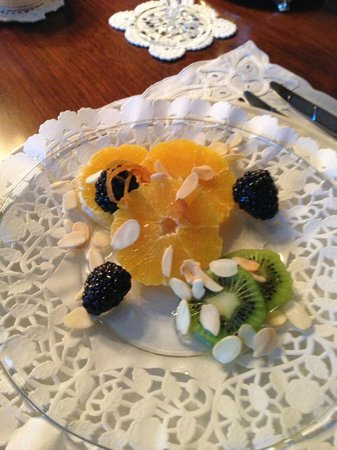 Shangarry Bed and Breakfast :                   Fruit Salad Drizzled with Grand Marnier Syrup & Almonds
