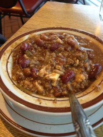 Swiston's Beef & Keg:                   One MEATY bowl of Chili. Sometimes a little tangy, But not hot hot!