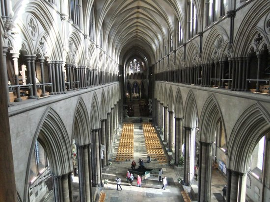 Salisbury Cathedral:                   View from halfway up the Spire Tour