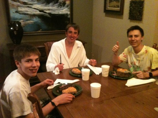 Our boys enjoy an apre ski steak dinner at The Porches!
