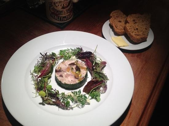 The Dew Drop Inn:                   Chicken terrine with a pint for lunch!
