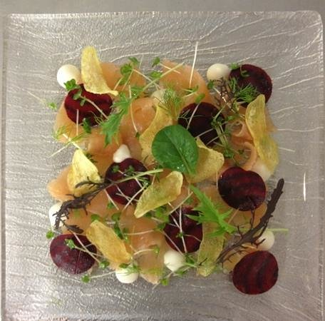 The Little Fish Market:                   Home Smoked Trout, Cured Beetroot, Horseradish, Potato Crisps