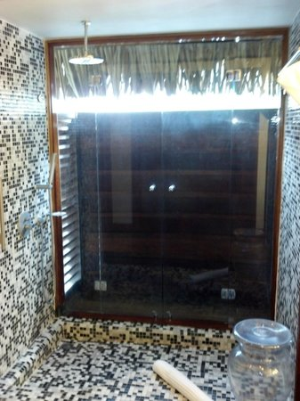 Sofitel Moorea Ia Ora Beach Resort: Large open shower, doors open to outside.