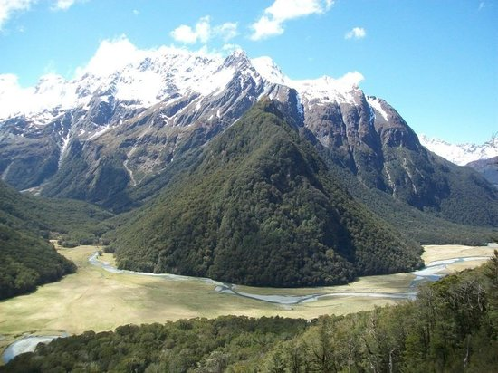 Routeburn Track:                   View from the slip between the Flats and Falls huts
