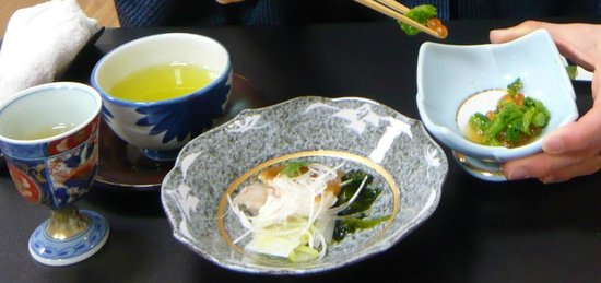Shintsuta:                   Umesyu, plum wine(left mag), appetizer with fish(center) and appetizer with sa