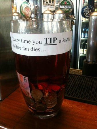 Classic Tip Jar Shows That The Staff Have A Good Sense Of Humour Picture Of The Tap On Mitchell Darwin Tripadvisor