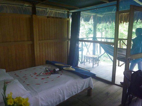Muyuna Amazon Lodge:                   The room (decorated for my boyfriend's birthday)