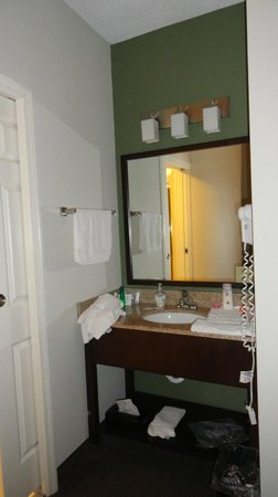 Sleep Inn & Suites of Lake George:                   sink area - right next to one bed, between bed and toilet/shower area