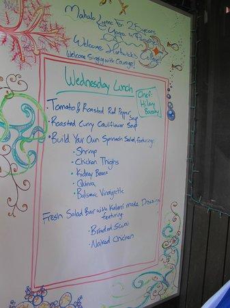 Kalani: Wednesday lunch menu