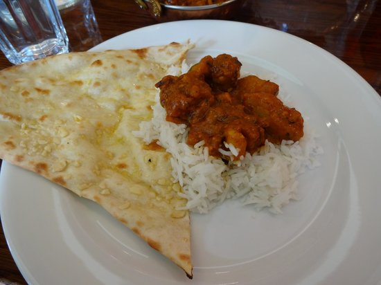 Bombay Palace Indian Restaurant:                   Aloo gobi with garlic naan
