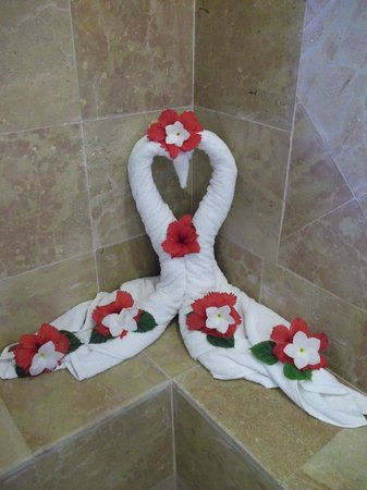 Catalonia Bavaro Beach, Casino & Golf Resort:                                     Towel designs in the Honeymoon suit