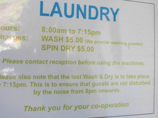 Ellerslie Palms Motel:                   Laundry prices