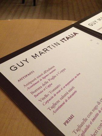 Guy Martin Italia :                   la carte