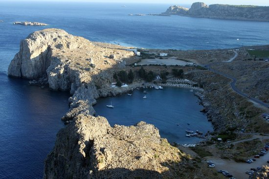 Bay of St Paul - view from the Acropolis of Lindos