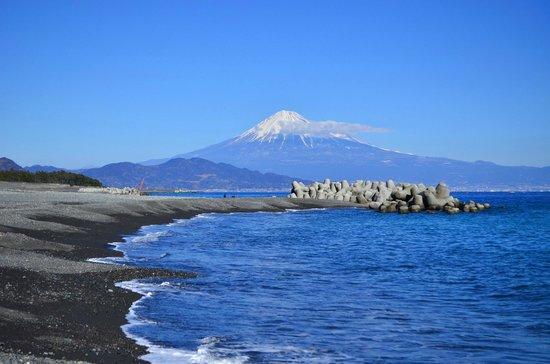 Shizuoka, Japan:                   海岸のテトラポットが邪魔でした