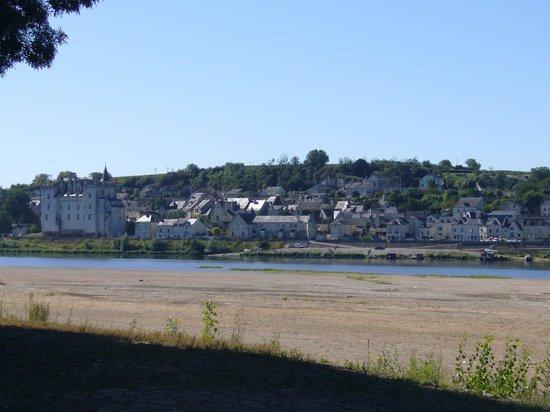 Château de Montsoreau :                   vue du chateau depuis l'autre rive de La Loire