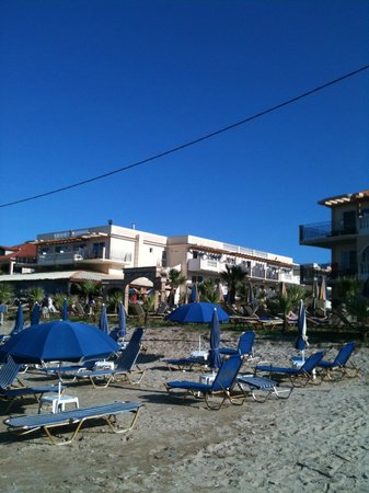 Zante Maris Hotel:                   Standing on the beach looking at Zante Maris