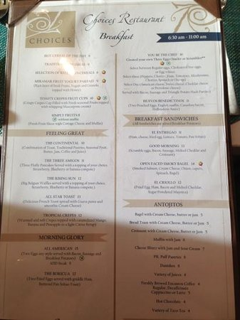 Sheraton Puerto Rico Hotel & Casino:                   Menu and prices