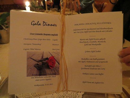 Gran Baita Sport & Wellness Hotel:                   Menukaart