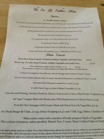 The Fur and Feathers: january 2013 menu