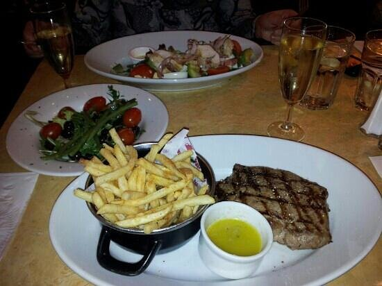 Cafe Rouge - York Coney Street:                   Ribeye fries n garlic butter nb side salad extra