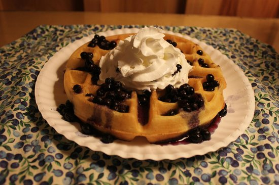 Vacationland Inn: Homemade Waffles with Wild Maine Blueberry Sauce