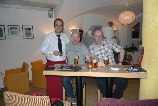 Hotel Panther:                   Giorgio the barman & us in the hotel bar