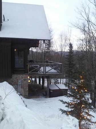 Tremblant Mountain Chalets:                   view from outside with the private hot tub