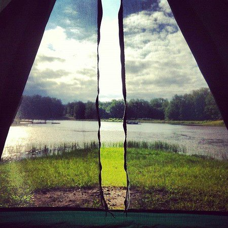 Small Country Campground: View from tent on Island