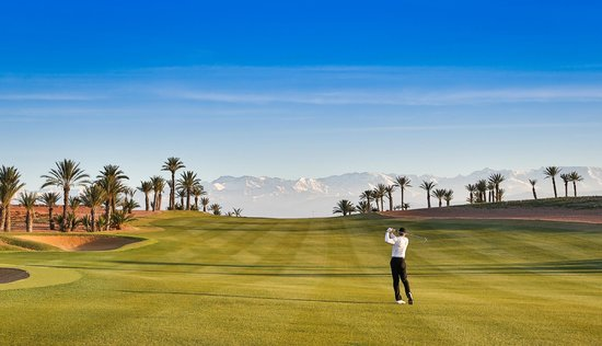 Assoufid Golf Club: The 5th hole fairway with a view of the Atlas mountains