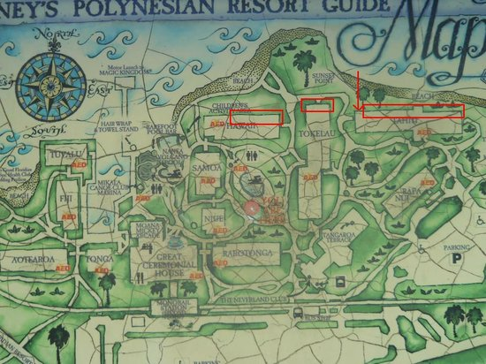 Annotated map of Polynesian showing best buildings for views of ...