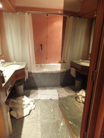 Hotel Michelangelo:                   Toalett med bubbelbadkar