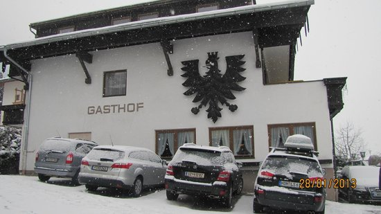 Schwarzer Adler Gasthof:                                     part of  the hote's parking lot