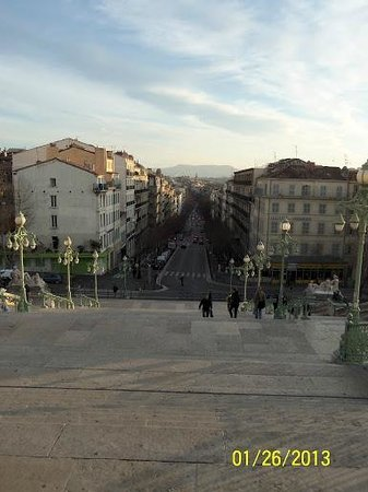 Hotel Marseille Saint Charles:                   view from top of stairs-hotel is on the left and restaurant is on the right
