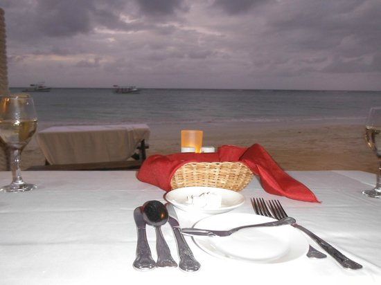 Sandals Montego Bay:                   Dinner view at Stewfish