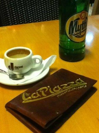 La Piazza Pizzeria: Espresso & Mythos beer #La Piazza