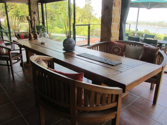 Colleith Lodge :                   Main open area with beautiful views and furniture